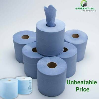 150m Blue Centre Feed Rolls 2 Ply Embossed Wiper Paper Hand Towel Catering