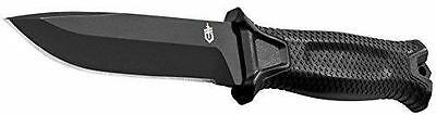 GERBER Tactical Black STRONGARM Fine Edge Fixed Blade Knife + Sheath!