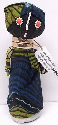 Authentic Ndebele Doll 10'' Bead Handcrafted Kwandebele South Africa Blue/Green