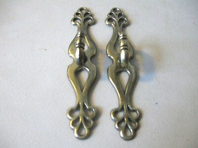 (2) Vintage Drawer Pulls / Handles With Back Plates - Door Pulls - W/ Screws