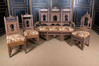 Rare Oriental Lounge Suite With Inlays Marrakech Um 1900