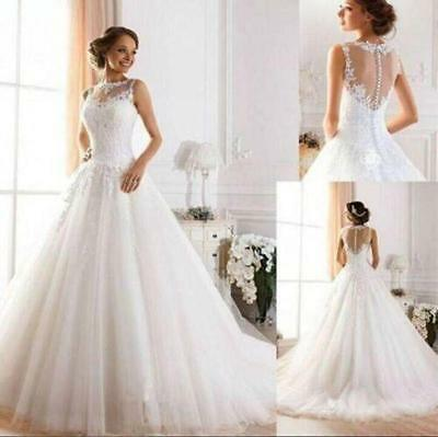 2017 New White/Ivory Lace Wedding Dress Bridal Gown Size 6 8 10 12 14 16 18 RE