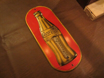 VINTAGE OLD 1920s COCA COLA COKE SODA ADVERTISING EMBOSSED TIN METAL THERMOMETER