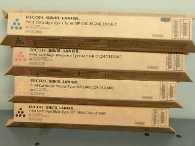 New Genuine RICOH SAVIN LANIER MP C400/C240/LD140C Print Cartridge Set CMYK