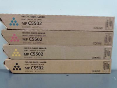 New Genuine RICOH SAVIN LANIER MP C5502 Print Cartridge Set
