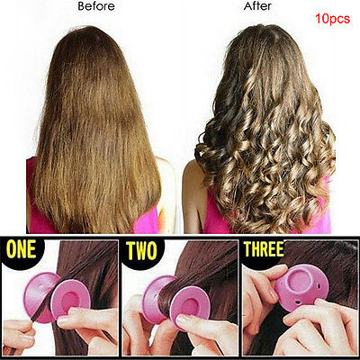 10pcs Beauty Women Roll Hair Maker Curlers Roller Soft Silicone DIY Cosmetic EC