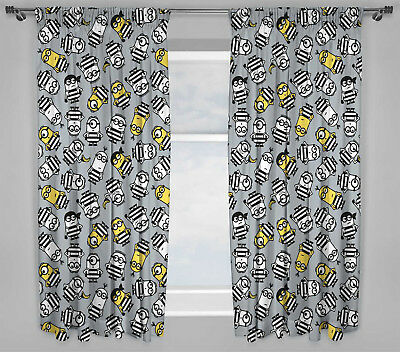 "Despicable Me Minions Jailbird Curtains 66""x54"" Drop 167x137cm For Kids Bedroom"