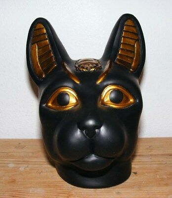 Large Ancient Egyptian BASTET Cat Goddess Head Figurine 6 inches high