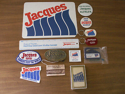 Jacques Seeds Lot Magnets Sticker Key Chains Cards Ruler Pinbacks Feed Seed Farm