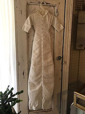 "Antique Christening Gown Lots Of Pin Tuck Long 41"" Lace Tie Back Bow"