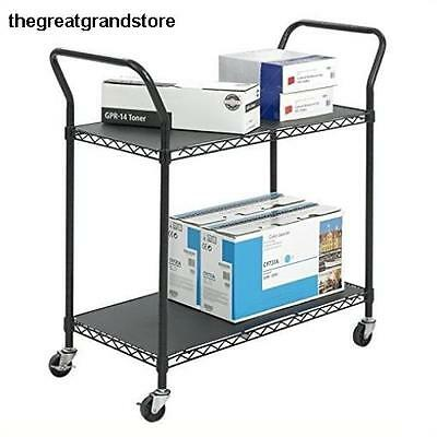 Safco Products 5337BL Wire Utility Cart w/ 2 Shelves Rated up to 400 lbs. ..
