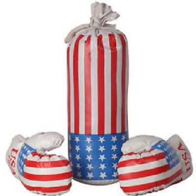 10 OZ BOXING PRACTICE TRAINING GLOVES USA MMA Sparring Punching USA Flag W/Bag