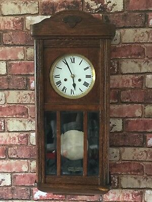 Antique Wooden Wall Clock with Hour & Half Hour Strike, Brown Oak Colour.