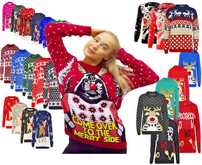 Z11 Christmas Xmas Jumper New Womens Knitted Retro Novelty Vinatage In Plus Size