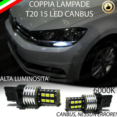 Coppia Lampade Diurne Posizione Drl 15 Led T20 Canbus Vw Touran 5T1 6000K