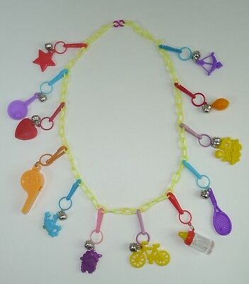 Vintage 80's Bell Clip Plastic Charm Necklace 12 Charms Whistle Bottle & More