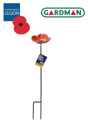 Royal British Legion Gardman Cast Iron Poppy Bird Feeder - FREE P&P