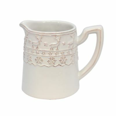 Gisela Graham Ceramic White Christmas Serving Jug with festive border 10 x 12cm