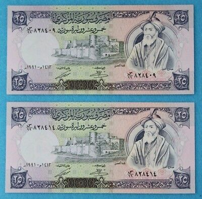 {L.N 83} Syrian Replacement 25 Pounds X 2 .UNC 1991 .#P-102