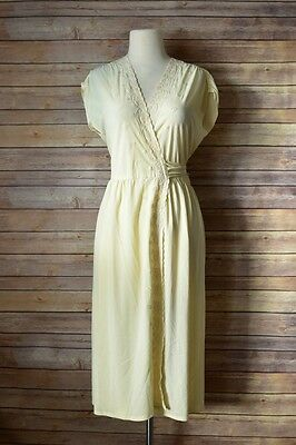 Vintage 70's Embroidered Floral Scalloped Sheer Sexy Wrapped Secretary Dress