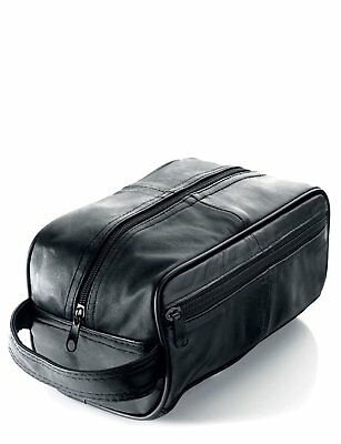 New Mens Soft Leather Toiletry Travel Wash Bag Travel Kit Overnight Gift 3083