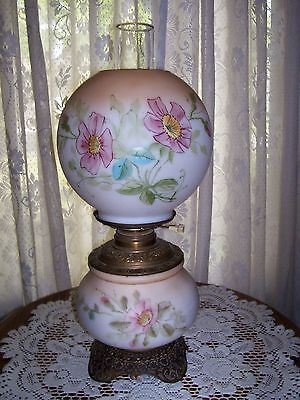 Antique Victorian Gone WIth the Wind  PARLOR OIL LAMP Electrified Brass Pot