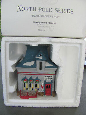 Dept 56 North Pole Series Beard Barber Shop # 56340 Holiday Retired Lighted