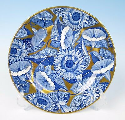 """Spode Convolvulus Sunflower w/ Gold 8.75"""" Plate Antique Staffordshire Pearlware"""