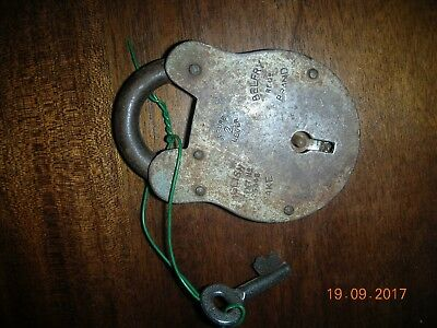 English 2 lever Old padlock with key (Belfrey Brand)