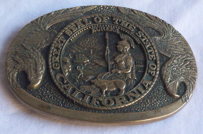 State seal of CALIFORNIA vintage solid brass belt buckle detailed Eagles CA !