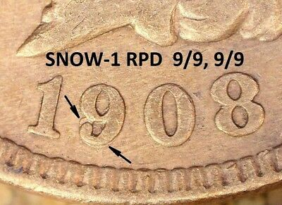 1908 Indian Head Cent - EXTRA FINE+ RPD, SNOW-1 Cleaned  (G755)
