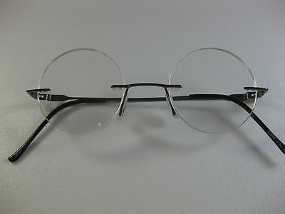 4c0a1a5dd4 RIMLESS ROUND Small Steve Jobs Look PEWTER Reading Glasses Flex Temples  +1.75