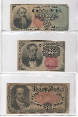 Lot of 3 US Fractional Currency Notes