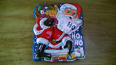 Vintage ALICE MARCEL 3-D  SANTA W/SACK ON CHIMNEY CHRISTMAS COOKIE CONTAINER