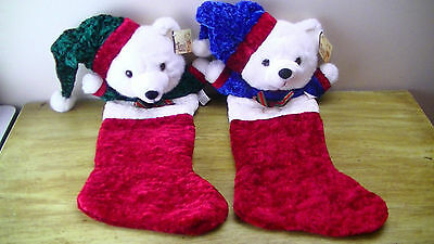 """Royal Green Red & Blue Teddy Bear Christmas Stocking Decoration 20"""" Very Soft!!!"""