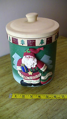 Large 3-D Stoneware Santa With Sack, Christmas Cookie Jar With Air Tight Cover