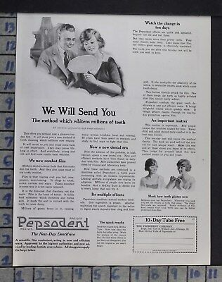 1921 Dentistry Medical Pepsodent Tooth Care Toothpaste Health Vintage Ad Dm94