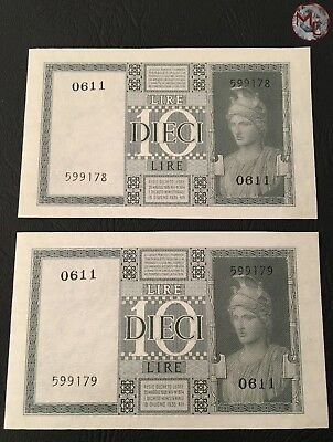 Italy 10 Lire 1939 Pick # 25 UNC 2 PCS Consecutive Numbers!