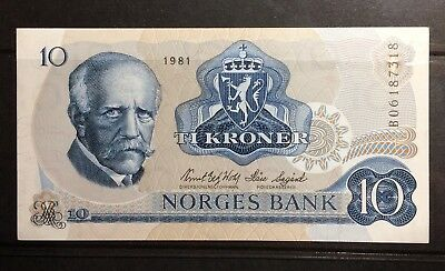 Norway 10 Krone Banknote 1981 UNC Litra BO, Free S/H