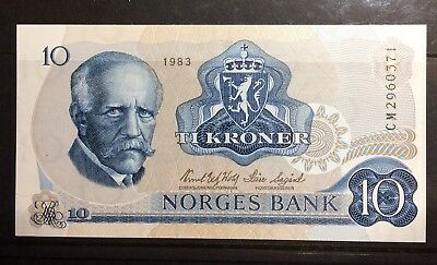 Norway 10 Krone Banknote 1983 UNC Litra CM, Free S/H