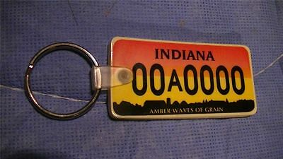 Indiana License Plate Rubber Key chain FOB 00A0000 AMBER WAVES OF GRAIN
