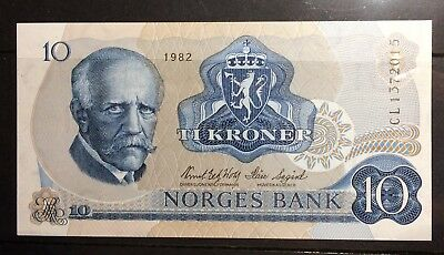 Norway 10 Krone Banknote 1982 UNC Litra CL, Free S/H