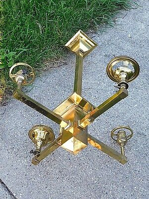 Mission Antique Brass Gas & Electric Ceiling lamp Light Fixture