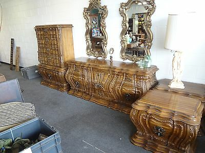 Rare Style Vintage 50's Massive Bowed French Provincial Bedroom Set.. Must See!!