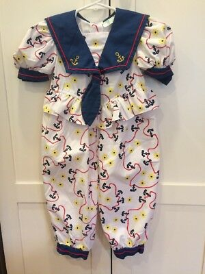 Tiny Tots Original Vintage Vtg Girls Sailor Romper Size 2 2t