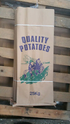 50 Potato Bags Sacks 25kg Potato Garden  Veg Paper 3 ply sack