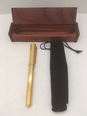 Vintage Tourneau Gold Plated Black Ballpoint Pen Collectible In Wood Box New