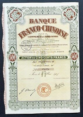 China - Banque Franco Chinoise - share 500 francs - 1927