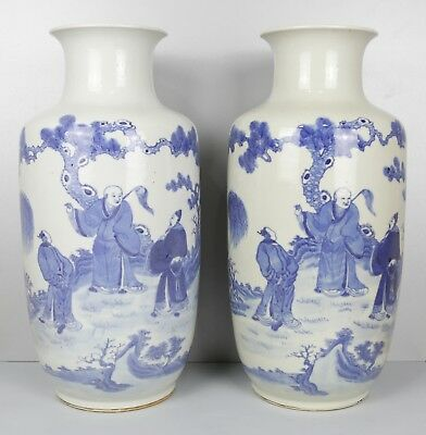 Good 19Th Century Chinese Pair White & Blue Calligraphy Roleau Vases Kangxi Mark