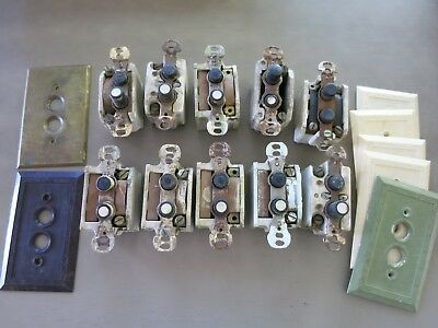 Antique Lot of 10 Ceramic Push Button Light Switches Plus 7 Switch Plates